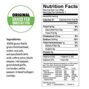 Original, Sogo Snacks, No Sugar, 100% Grass-fed & Grass-finished, Non-GMO Beef Sticks. No Added Nitrates, Gluten, Soy, MSG, Dairy, Nuts. Keto, Whole, Paleo Friendly (Original, 1-oz, 12 Count)