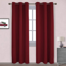 Load image into Gallery viewer, NICETOWN Home Decorations Thermal Insulated Solid Grommet Top Blackout Living Room Curtains/Drapes for Christmas & Thanksgiving Gift (1 Pair,42 x 84 inches,Red)