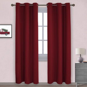 NICETOWN Home Decorations Thermal Insulated Solid Grommet Top Blackout Living Room Curtains/Drapes for Christmas & Thanksgiving Gift (1 Pair,42 x 84 inches,Red)
