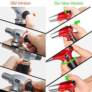 Tencoz Blow Torch, Professional Kitchen Cooking Torch with Safety Lock Adjustable Flame Refillable Mini Blow Torch Lighter for Crafts Cooking BBQ Baking Brulee Creme DIY Soldering Red