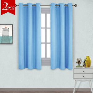 NICETOWN Home Fashion Thermal Insulated Solid Grommet Blackout Curtain Panels for Bedroom (1 Pair,42 inches Wide by 63 inches Long,Blue)