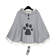 Load image into Gallery viewer, CORIRESHA Gray Cute Catpaw Print Soft Fleece Outwear Chi's Sweet Home Cat Cape with Cat Ears One Size