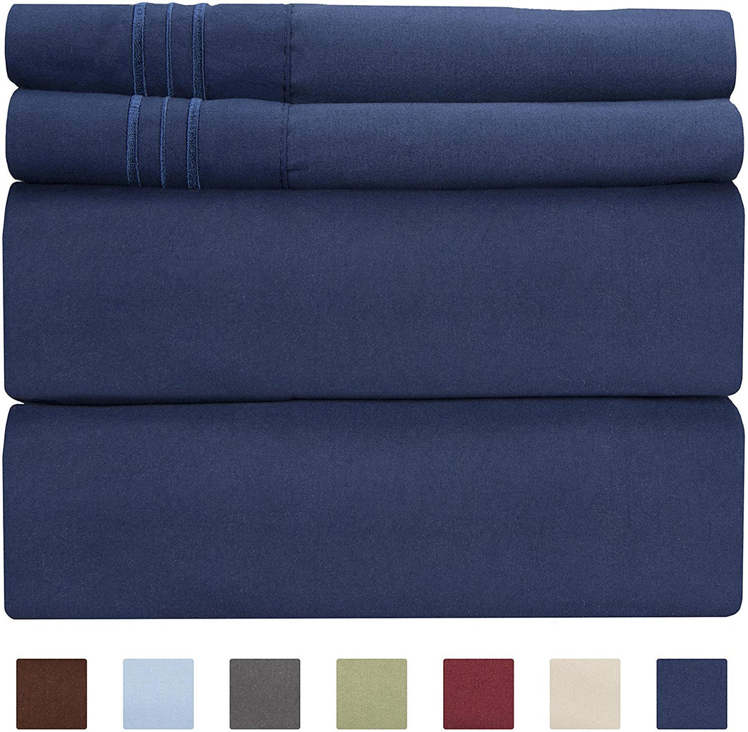 CGK Unlimited Split King Size Sheet Set - 5 Piece - Hotel Luxury Bed Sheets - Extra Soft - Deep Pockets - Easy Fit - Breathable & Cooling - Wrinkle Free - Comfy – Navy Blue - Split Kings Royal Sheets
