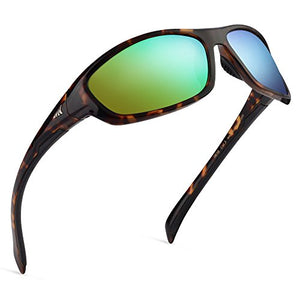 KastKing Hiwassee Polarized Sport Sunglasses for Men and Women, Gloss Demi Frame,Brown Chartreuse Mirror KKSG-2 Frame: Gloss Demi / Lens: Brown - Chartreuse Mirror