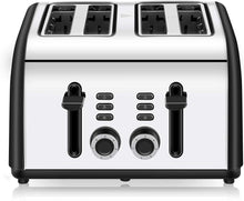Load image into Gallery viewer, Toaster 4 Slice, CUSINAID 4 Wide Slots Stainless Steel Toasters with Reheat Defrost Cancel Function, 7-Shade Setting, Black