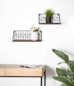Mkono Wall Mounted Floating Shelves Set of 2 Rustic Metal Wire Storage Shelves Display Racks Home Decor Small & Large Brown