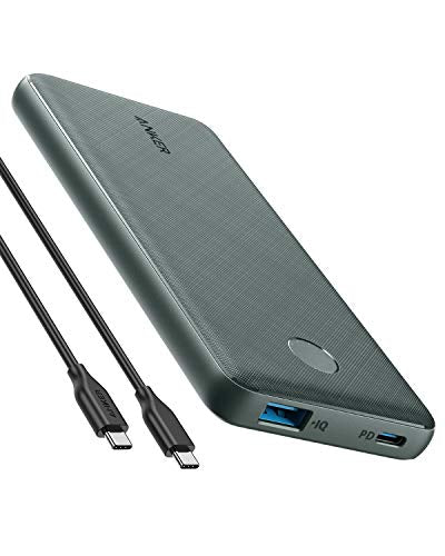 Anker PowerCore Slim 10000 PD Green, 10000mAh Portable Charger USB-C Power Delivery (18W) Power Bank Fast Charge for iPhone 11/11 Pro / 11 Pro Max, S10, Pixel 3, iPad Pro 2018, and More A1231