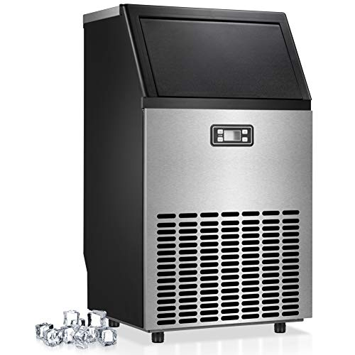 Joy Pebble Commercial Ice Maker Machine, 100 LBS/24H Automatic Freestanding Ice...
