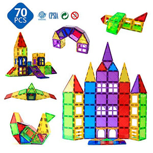 Magblock Magnetic Blocks - Magnetic Toys for Toddlers Kids Magnetic Building Blocks Preschool Magnet Set Magnetic Stem Toys 70 Pieces 70pcs Multicolor