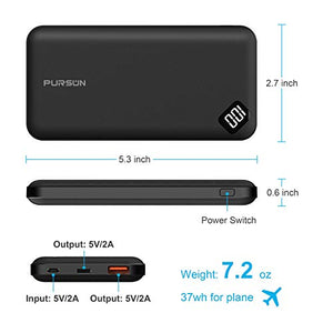 PURSUN 2020 Updated Ultra Compact 10000mAh Fast Charge Power Bank with Dual USB A and USB C Ports, Portable Charger with LED Digital Screen for iPhone, iPad, Samsung, Google Pixel, Nexus and More F1004 10000 mAh Black