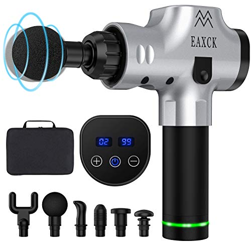 EAXCK Massage Gun, Deep Tissue Percussion Muscle Massager for Pain Relief Relieving Muscle Pain Soreness and Stiffness, Portable LED Display Super Quiet Brushless Motor Electric Grey