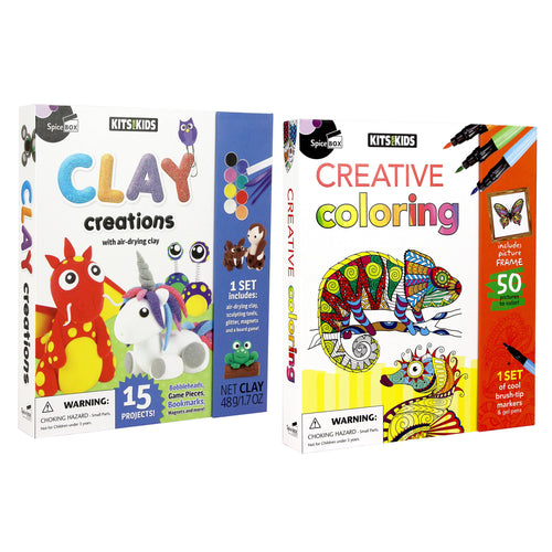 SpiceBox Kits for Kids Clay Creations and Creative Colouring