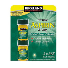 Load image into Gallery viewer, Kirkland Signature LOW Dose Aspirin 81mg Pain Reliever Aspirin Regimen Safety Coated Enteric - 2 Packs of 365 Coated Tablets (730 Tablets Total)