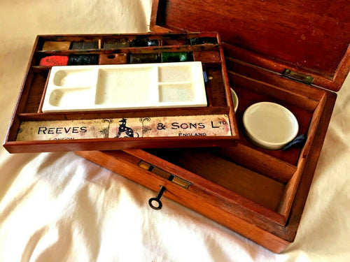 Antique REEVES & Sons Ltd. WATERCOLOR  Artist BOX with WATERCOLOR PAINTS. 1880's