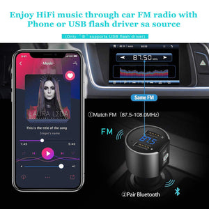 VR-robot Bluetooth FM Transmitter for Car, Wireless Bluetooth FM Radio Adapter Car Kit with Hands-Free Calling and 2 Ports USB Charger