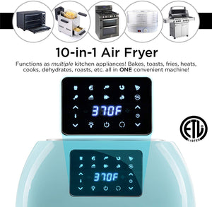 Best Choice Products 16.9qt 1800W 10-in-1 XXXL Family Size Air Fryer Countertop Oven, Rotisserie, Toaster, Dehydrator w/Digital LED Display, 12 Accessories, 9 Recipes - Blue