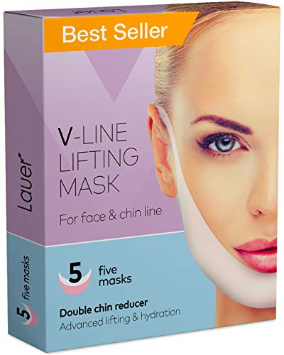 LAUER COSMETIC V Shaped Slimming Face Mask Double Chin Reducer V Line Lifting Mask Neck Lift Tape Face Slimmer Patch For Firming and Tightening Skin