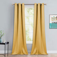 Load image into Gallery viewer, NICETOWN Yellow Blackout Drapes - Window Treatment Light Blocking Privacy Curtain Panels for Home Decoration (Set of 2, 42 inches by 90-inch)
