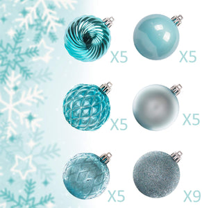 "KI Store 34ct Christmas Ball Ornaments Shatterproof Christmas Decorations Tree Balls for Holiday Wedding Party Decoration, Tree Ornaments Hooks Included 2.36"" (60mm Baby Blue)"