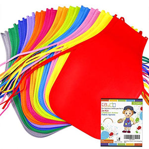 Caydo 24 Pieces 12 Colors Children's Artists Fabric Aprons for Kitchen, Classroom, Community Event, Crafts and Art Painting Activity
