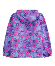 Load image into Gallery viewer, M2C Girls Outdoor Floral Fleece Lined Light Windproof Jacket with Hood 6/7 Violet IGJP11V0120USB