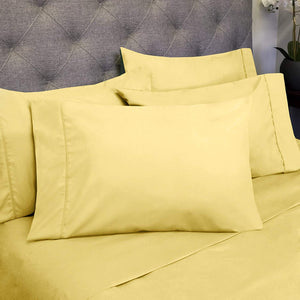 Full Size Bed Sheets - 6 Piece 1500 Thread Count Fine Brushed Microfiber Deep Pocket Full Sheet Set Bedding - 2 Extra Pillow Cases, Great Value, Full, Yellow