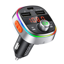 Load image into Gallery viewer, VicTsing Bluetooth FM Transmitter, USB C PD & Enhanced Bass Car Bluetooth Adapter with 7 Color LED Backlit, 3 USB Ports, Music Player Support U Disk/TF Card