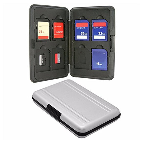 Portable Memory Card Storage Box Case Holder Silver Plastic 16 Slots (8+8) for Micro SD SD/ SDHC/ SDXC Memory Card Storage