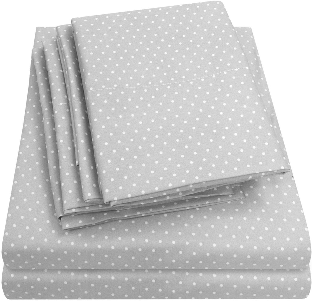 Sweet Home Collection Quality Deep Pocket Bed Sheet Set - 2 EXTRA PILLOW CASES, VALUE, Twin, Dot Gray, 4 Piece