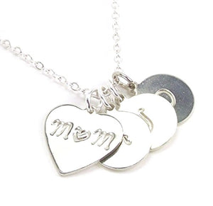 LaFenne Personalized Mother Daughter Son Initial Necklace Heart Mom Pendant Custom 1 2 3 4 5 Children Name Charm (Mom of 3) LF-SH105-1H-D Silver