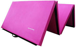 "BalanceFrom BFGR-01PK All-Purpose Extra Thick High Density Anti-Tear Gymnastics Folding Exercise Aerobics Mats, 4' x 10' x 2"" One Size Pink"