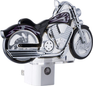 GE LED Motorcycle Night Light, Plug-In, Dusk-to-Dawn Sensor, Auto On/Off, Energy-Efficient, Soft White, Flames & Chrome Design, Ideal for Bedroom, Playroom, Bathroom, & More, Black/Silver, 10904