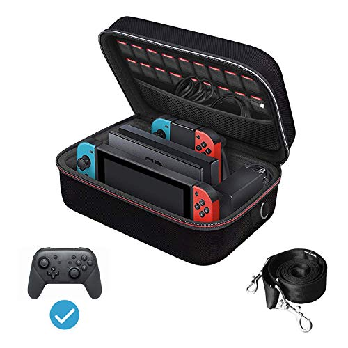 Carrying Storage Case for Nintendo Switch, iVoler PortableTravel All Protective Hard Messenger Bag Soft Lining 18 Games for Switch Console Pro Controller & Accessories Black