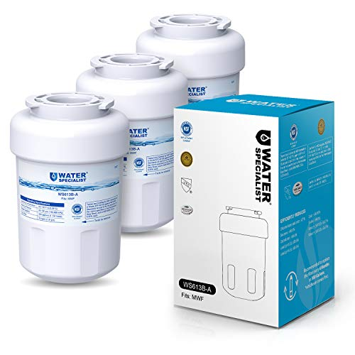 Waterspecialist NSF 53&42 Certified MWF Refrigerator Water Filter, Replacement for GE SmartWater MWFP , MWFA, GWF, HDX FMG-1, WFC1201, GSE25GSHECSS, PC75009, RWF1060, 197D6321P006 (Pack of 3) WS613B-A-3 3 Pack White