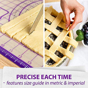 "Kitzini Pastry Mat Silicone Non Slip – Large Thick Non Stick Silicone Baking Fondant Mat - Rolling Dough, Pie Crust, Pizza and Cookies – Easy Clean Kneading Mat With Measurements – 16 x 26 Inch 8541883752 L - 16"" x 26"" Purple"