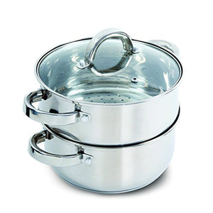 Oster Sangerfield Steamer Set with Lid for Stovetop Use, Stainless Steel, 1