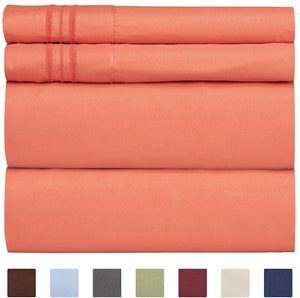 CGK Unlimited Split King Size Sheet Set – 5 Piece - Hotel Luxury Bed - Extra Soft - Deep Pockets - Breathable & Cooling - Wrinkle Free - Comfy – Coral Sheets - Split Kings Sheets Coral 5PC