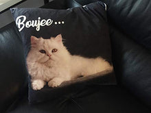 Load image into Gallery viewer, Boopy Funny Boujee Cat Throw Pillow Covers | Comfortable Linen Feeling Fabric with Vibrant CatPrint | 18 inch x 18 inch Novelty Cat Throws for Couch & Bed | Funny Cat Decor & Decorative Cushion Cases 18 x 18-Inch Black