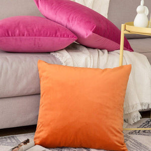 MIULEE Pack of 2 Velvet Pillow Covers Decorative Square Pillowcase Soft Solid Cushion Case for Sofa Bedroom Car 24 x 24 Inch 60 x 60 cm Orange