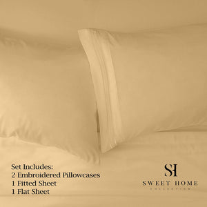 1500 Supreme Collection Extra Soft RV Queen Sheets Set, Camel - Luxury Bed Sheets Set with Deep Pocket Wrinkle Free Hypoallergenic Bedding, Over 40 Colors, RV Queen Size, Camel