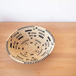 Amsha African Basket- Matimba/Rwanda Basket/Woven Bowl/Sisal & Sweetgrass Basket/Tan, Black Large