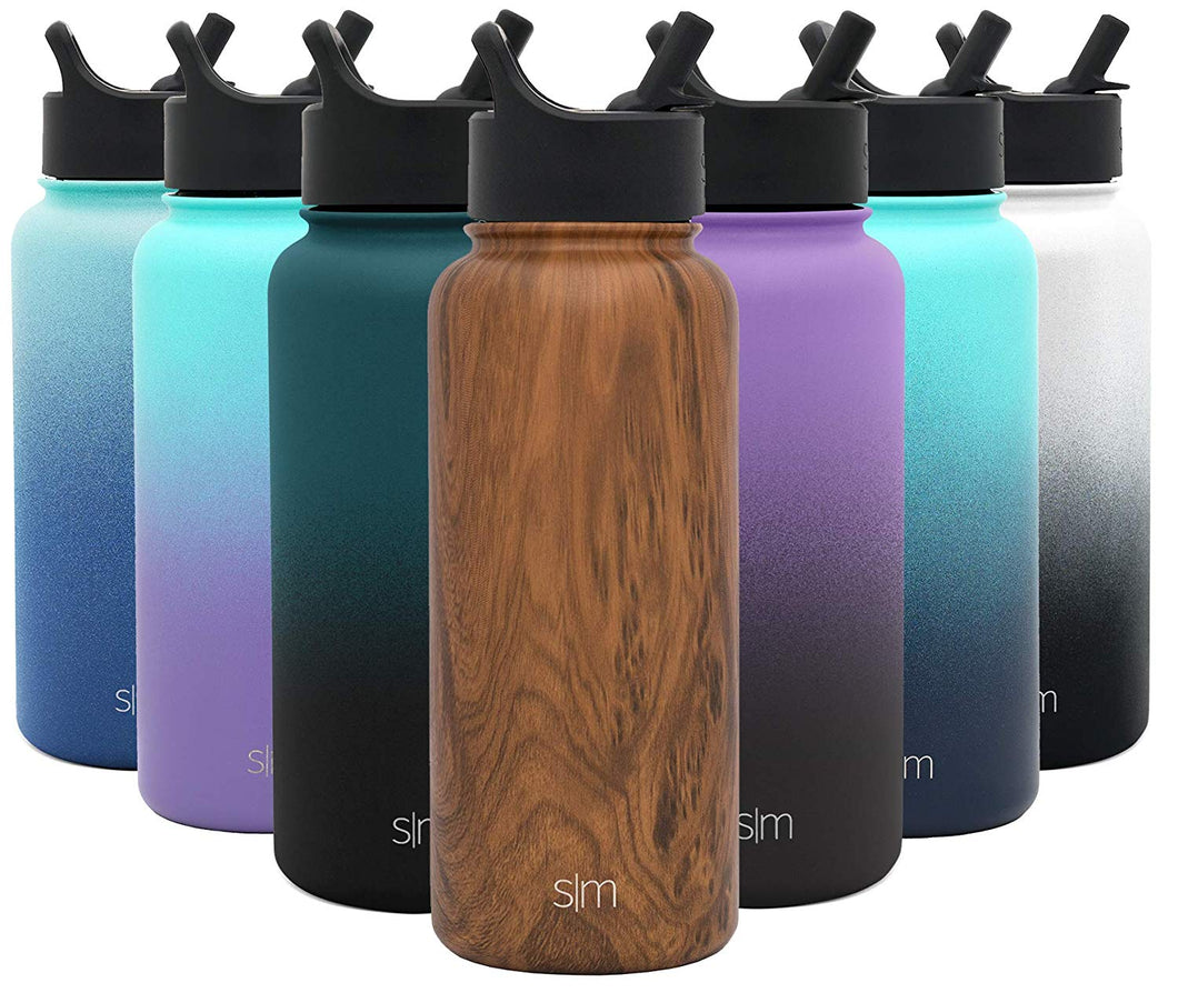 Simple Modern 32 oz Summit Water Bottle with Straw Lid - Gifts for Men & Women Hydro Vacuum Insulated Tumbler Flask Double Wall Liter - 18/8 Stainless Steel Pattern: Wood Grain