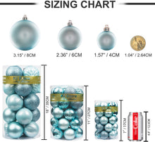 "Load image into Gallery viewer, KI Store 34ct Christmas Ball Ornaments Shatterproof Christmas Decorations Tree Balls for Holiday Wedding Party Decoration, Tree Ornaments Hooks Included 2.36"" (60mm Baby Blue)"