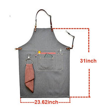 Load image into Gallery viewer, Luchuan Grey Canvas Work Apron/Adjustable Dermal Cortical Band Tool Apron/Barber Apron/Heavy Duty Work Apron for Men & Women with Pocket and Hanging Ring (31inch by 23.62inch) 31 by 23.62inch Gray