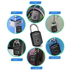 BESDERSEC Fingerprint Padlock, Outdoor Smart Biometric Thumbprint Keyless Lock, One Touch Unlock Portable USB Rechargeable Anti Theft School Lock, for Gym Suitcase Backpack Luggage Door Office - Elegant Black