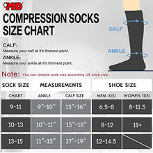 Load image into Gallery viewer, +MD 3 Pairs Bamboo Compression Socks 8-15mmHg for Women & Men Moisture Wicking Support Stockings for Airplane Flights, Travel, Nurses, Edema 10-13 Black