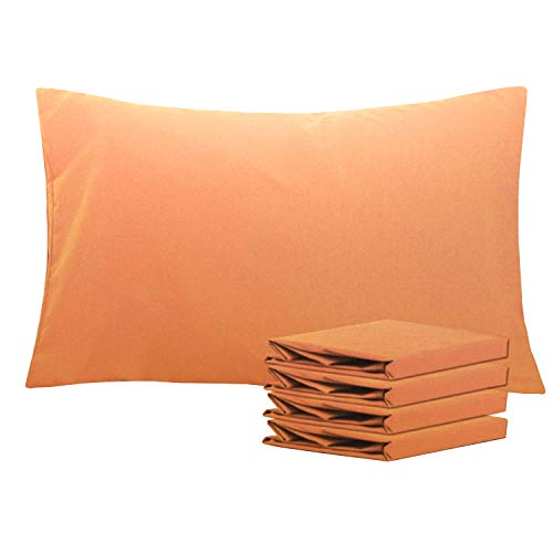 NTBAY Queen Pillowcases Set of 4, 100% Brushed Microfiber, Soft and Cozy, Wrinkle, Fade, Stain Resistant, with Envelope Closure, Pale Orange Standard/Queen (20
