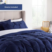 Load image into Gallery viewer, Linenspa All- Season Hypoallergenic - Plush Microfiber Fill - Machine Washable Alternative Comforter, Twin, Navy Pinch Pleat