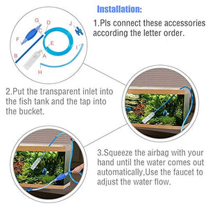 ZaneSun Aquarium Fish Tank Gravel Cleaner,Siphon Vacuum Pump Gravel Cleaner Fish Tank Water Changer Adjustable Flow Control Tape& Aquarium Algae Scraper Double Sided Sponge Brush Cleaner Scrubber