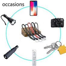 Load image into Gallery viewer, Uactor Wrist Hand Lanyard Adjustable Lanyards for Phones Keys, 7.5 inch Nylon Strap Perect for Gopro/Purse/Keychain/iPod/PSP/Wii/USB Drives (Multi-Colored 5 Pack)